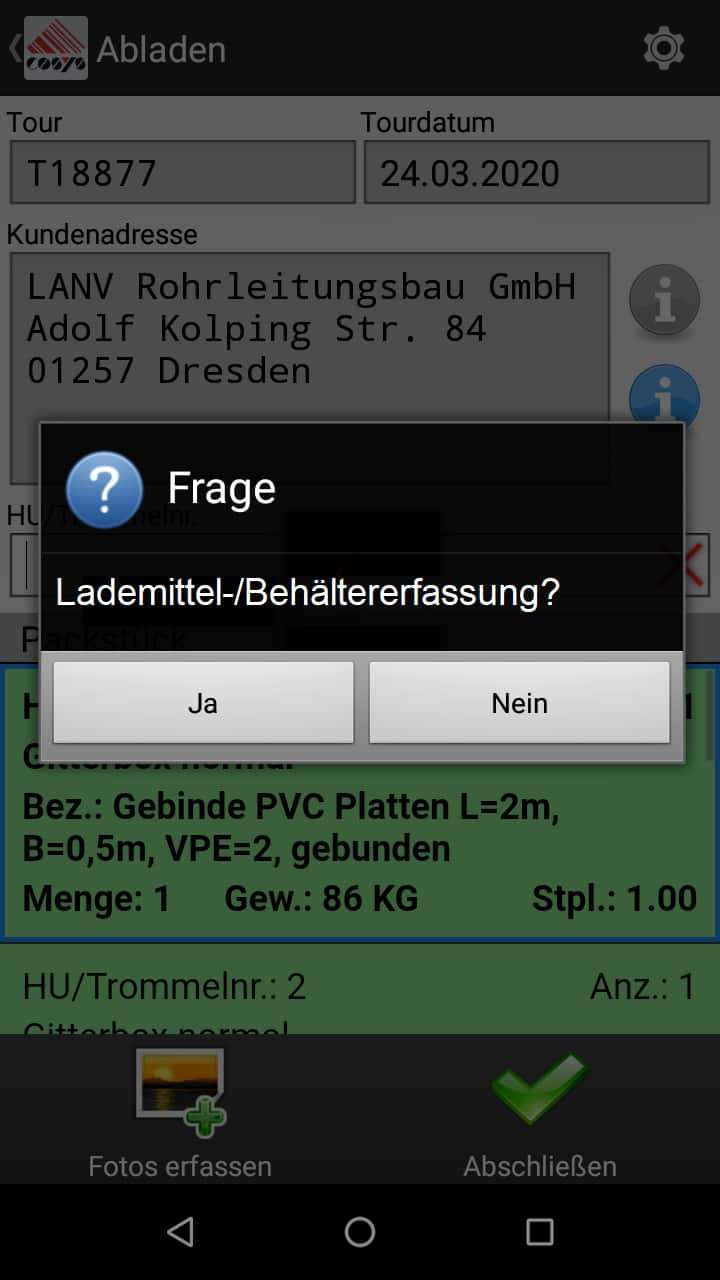 TMS Software Ablieferscannung Lademittel