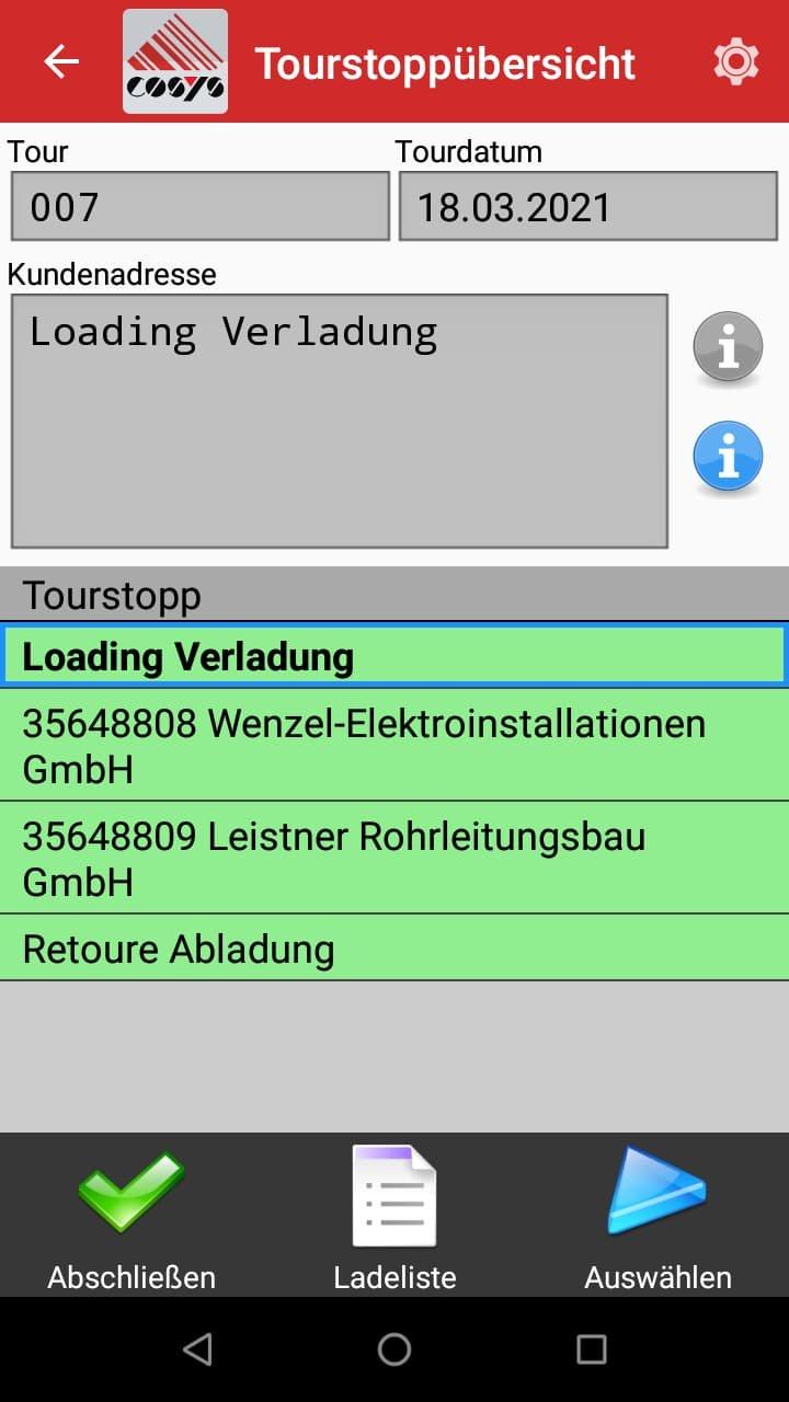 TMS Software Tourenübersicht
