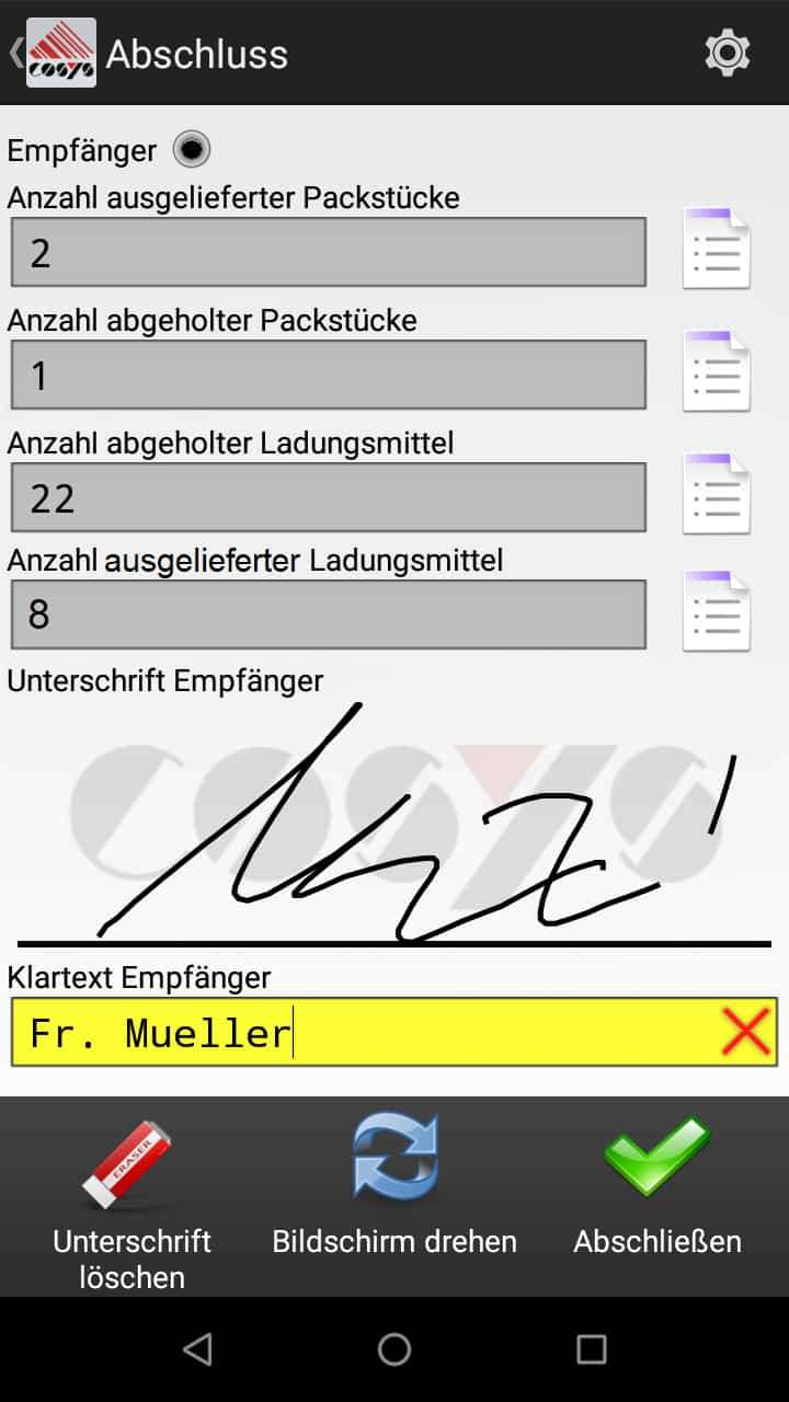 Abholung Kundenauswahl Android Software von COSYS