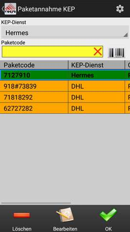 Annahme KEP Transport Software