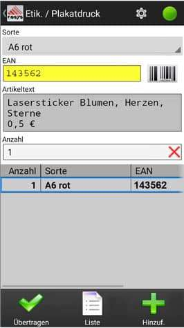 Etikettendruck Einzelhandel