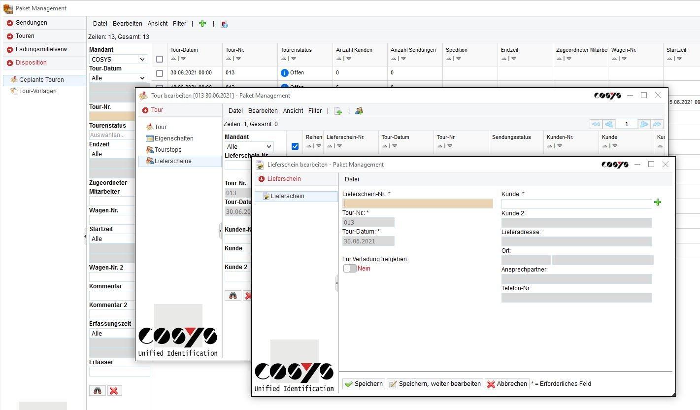 COSYS WebDesk Transport Lieferschein hinzufügen