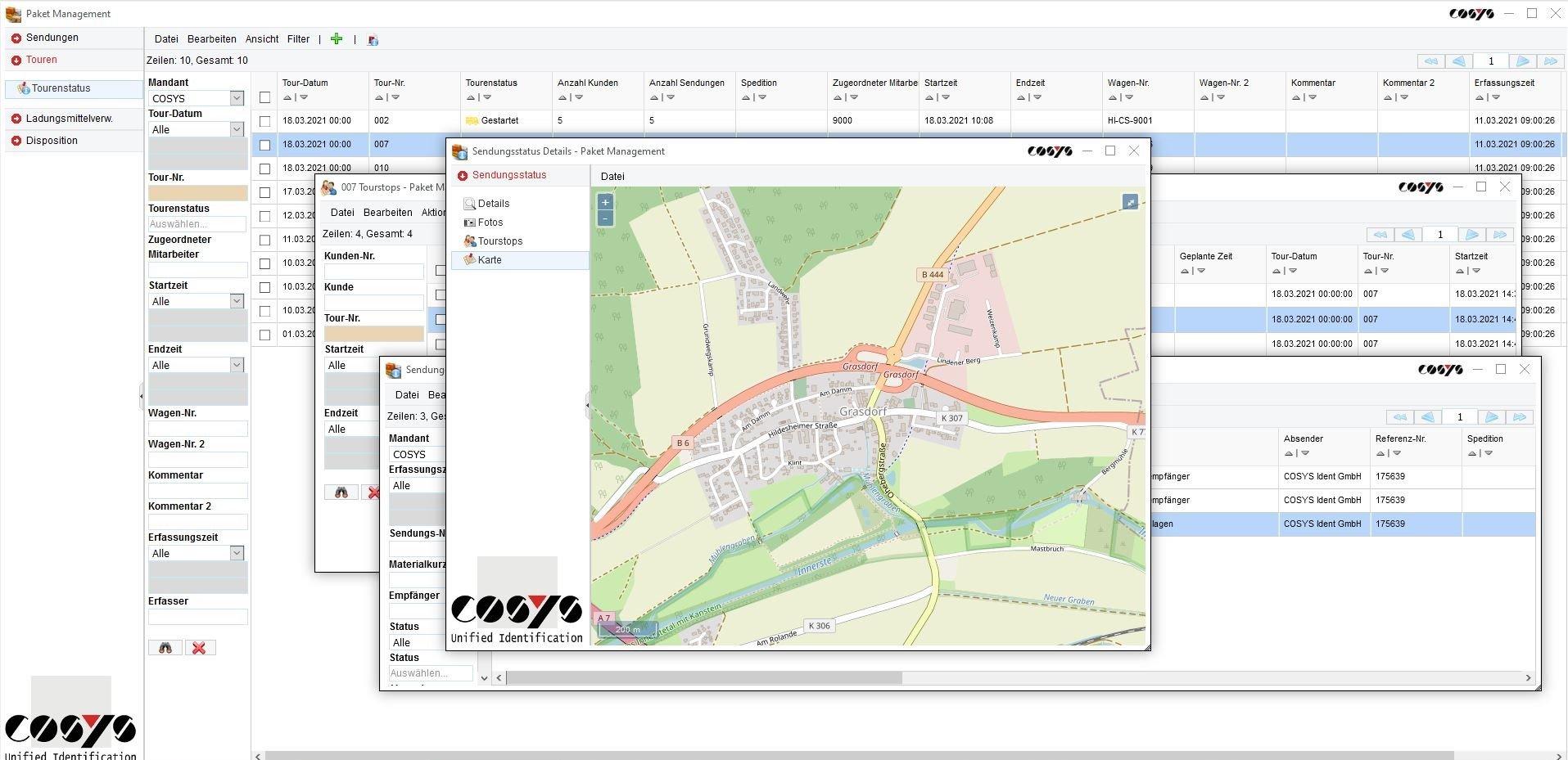 COSYS WebDesk Transport Sendungsverfolgung Karte