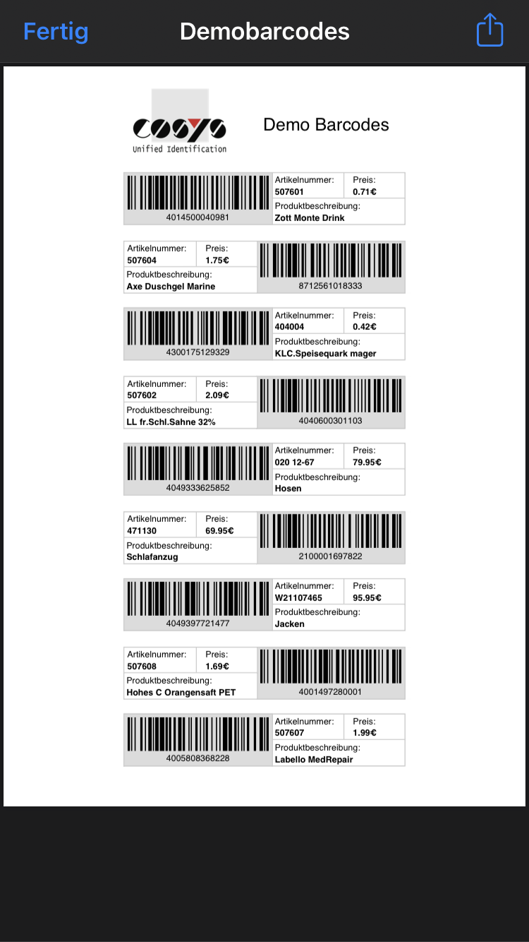 Inventur Demo Barcodes Android / iOS Cloud App von COSYS