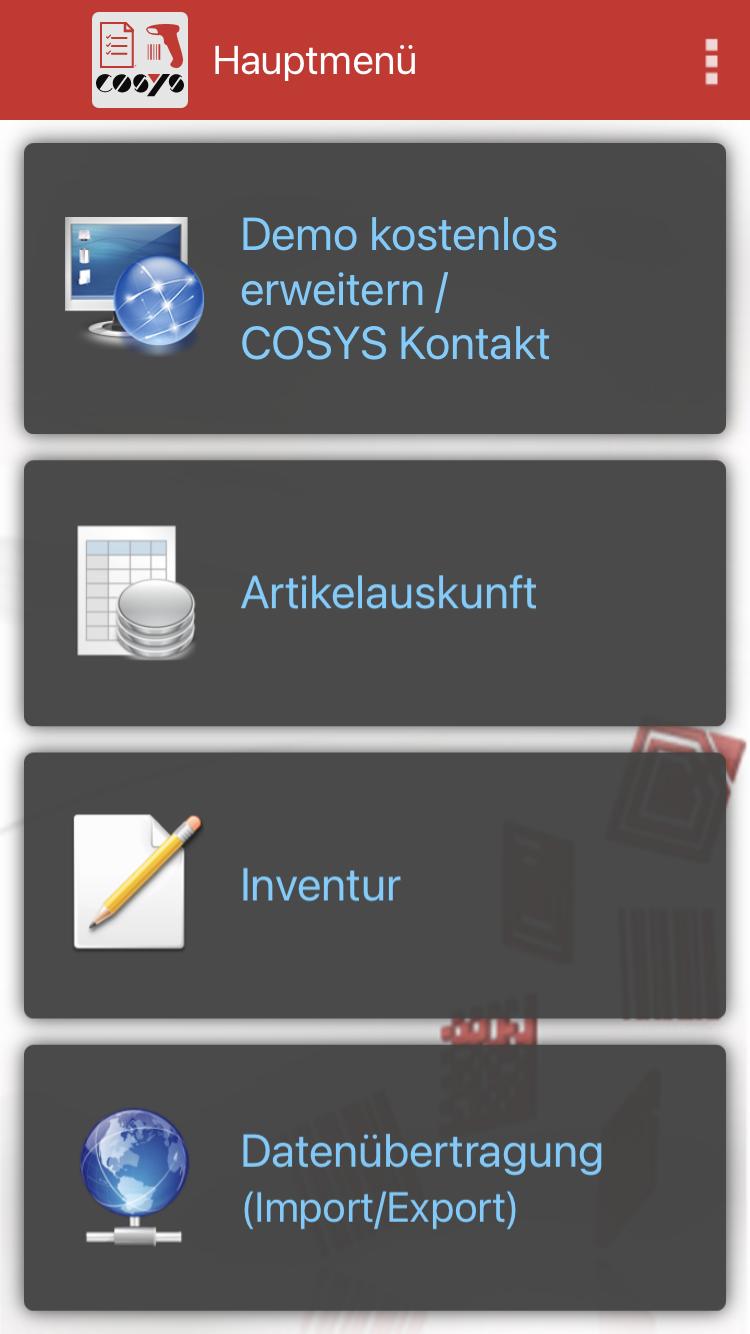Inventur Hauptmenü Android / iOS Cloud App von COSYS