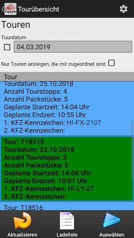 Touren Ablieferscannung Mobile Datenerfassung