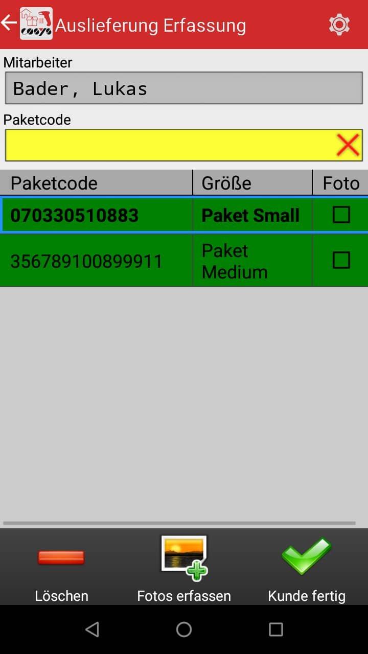 Wareneingang Artikelübersicht Android Software von COSYS