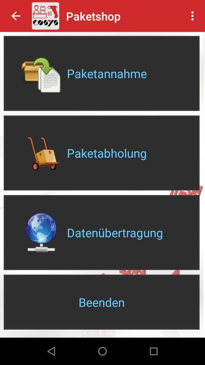 Hauptmenü Paketshop Software