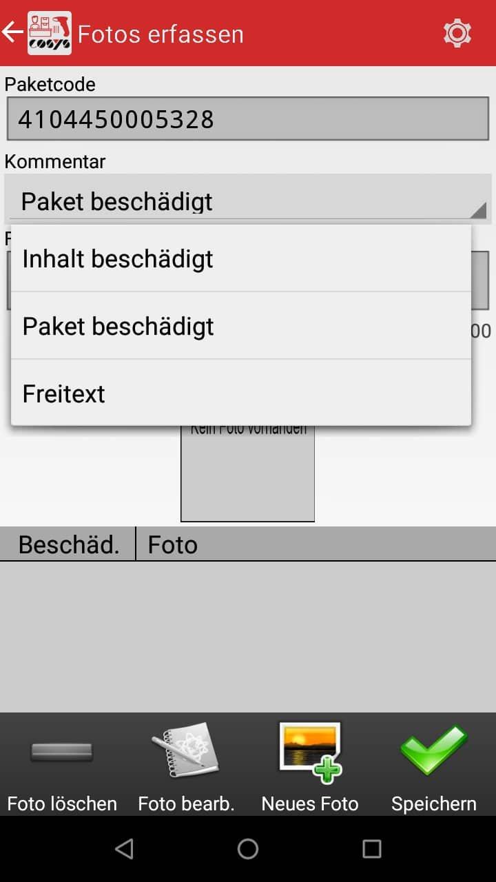 Fotoerfassung Paketshop Software