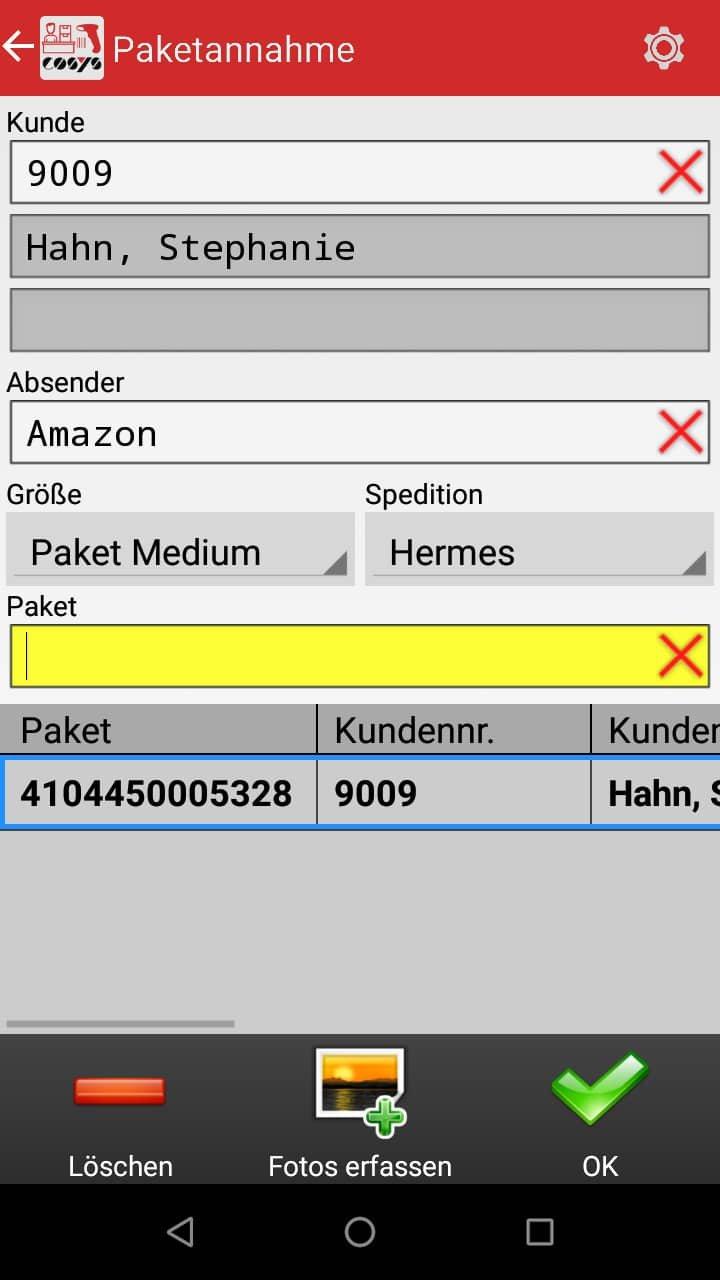 Paketannahme Paketshop Software