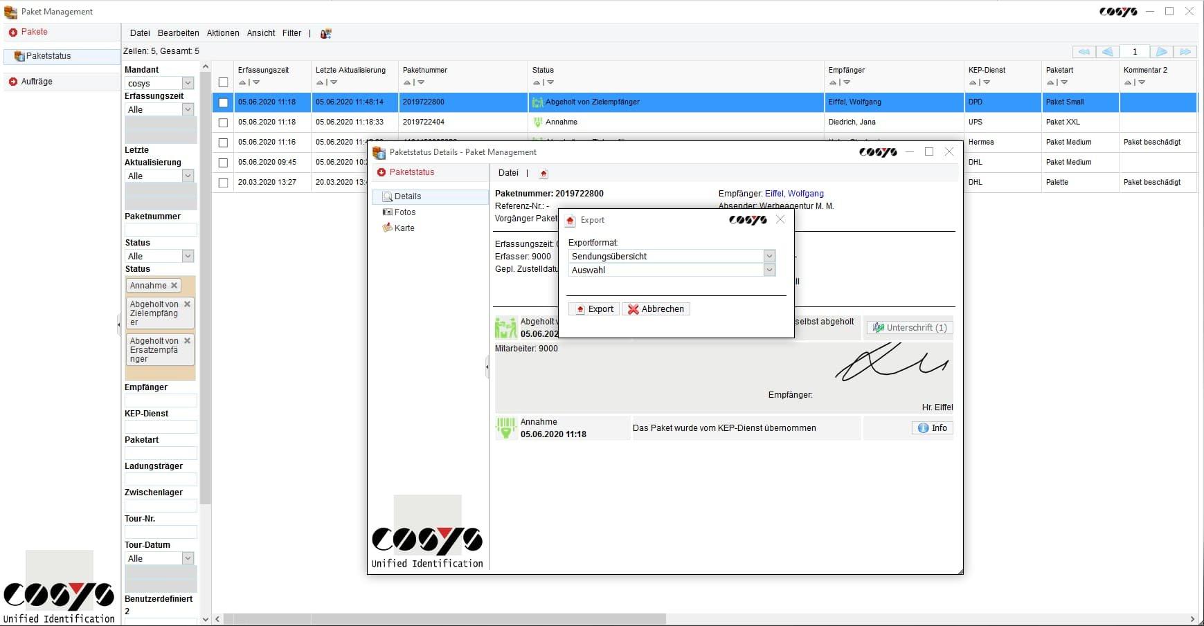 Sendungsstatus COSYS Paket Management