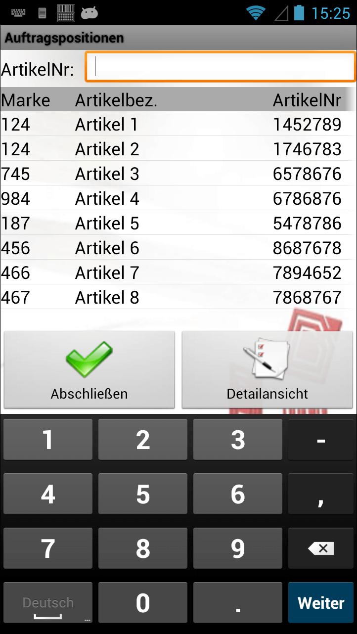 Bestellung Auftragspositionen Android Software von COSYS