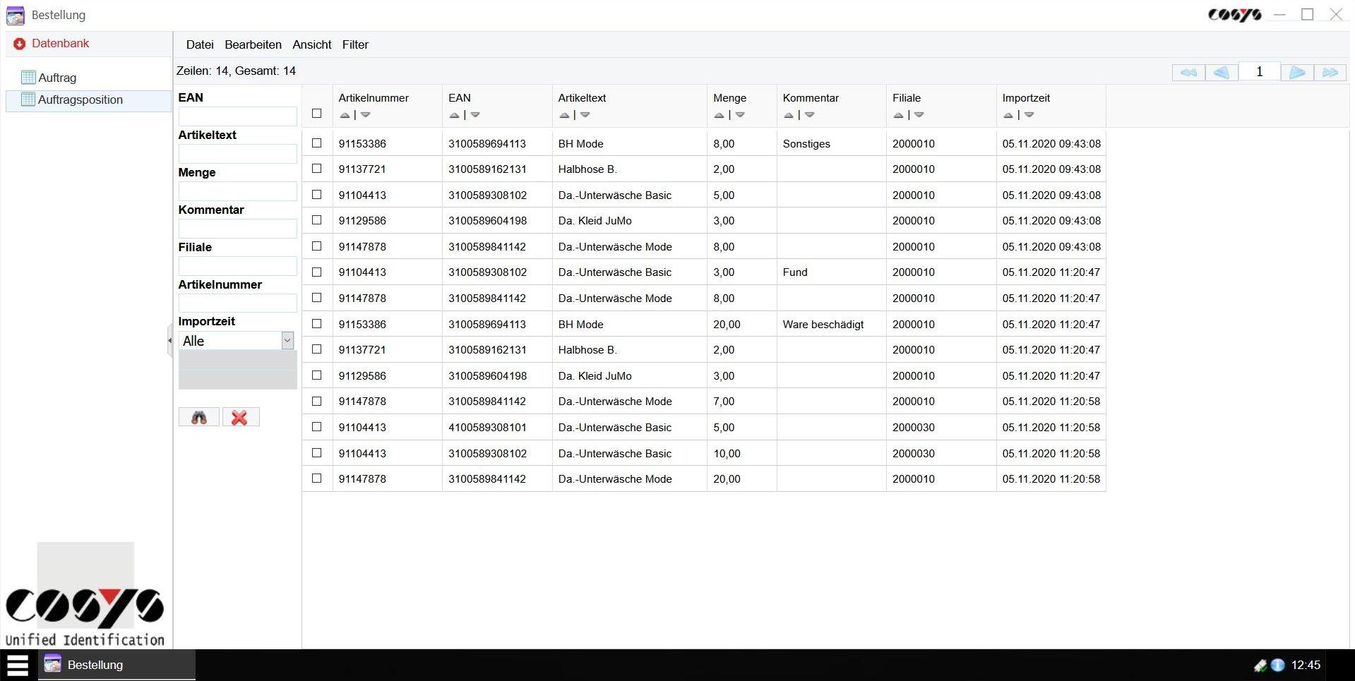 COSYS WebDesk Bestellung
