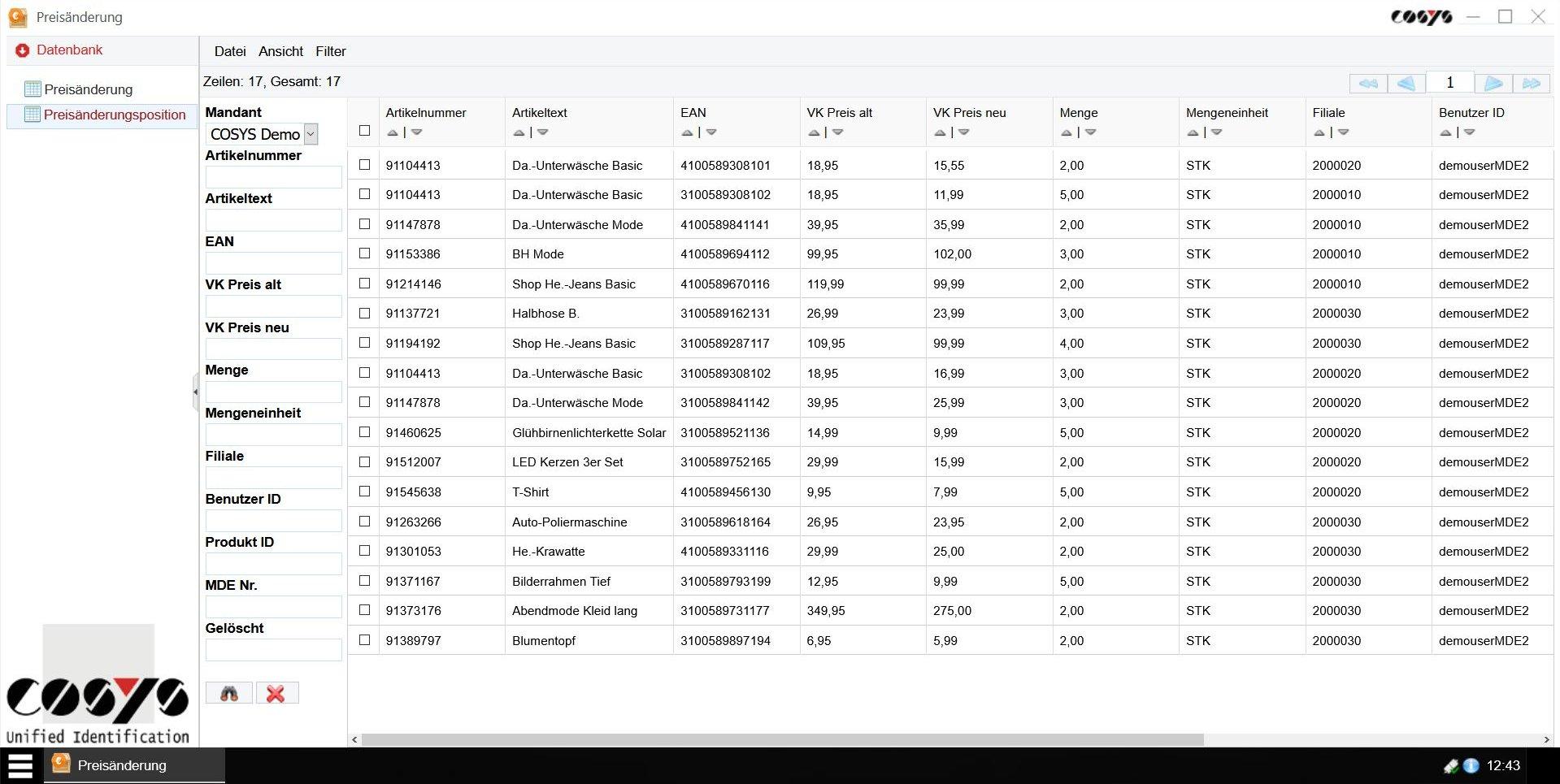 COSYS WebDesk Preisänderung