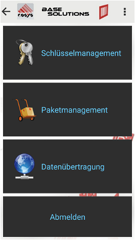 Hauptmenü Schlüsselmanagement Software Modul
