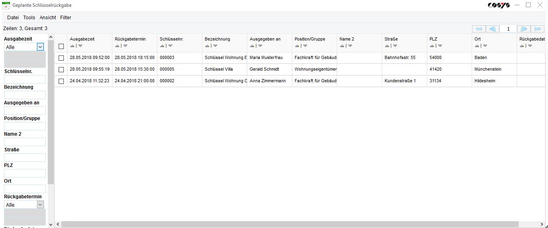 Geplante Schlüsselrückgabe im COSYS Schlüsselmanagement