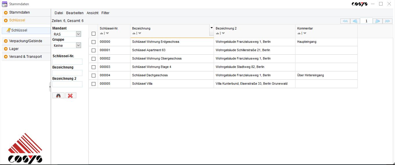 Stammdaten verwalten im COSYS Schlüsselmanagement