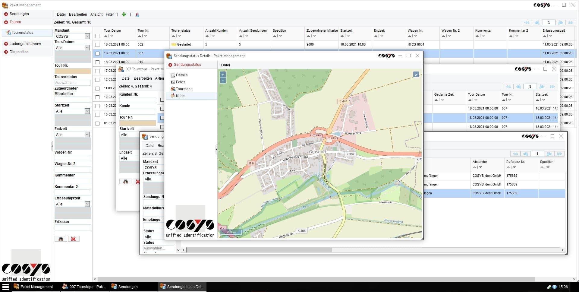 Sendungsverfolgung COSYS WebDesk