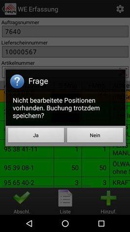 Kommissionierung Bearbeitet Android Software von COSYS