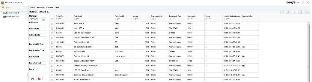 Lagerbestand Bestandsverwaltung - Inventar Software