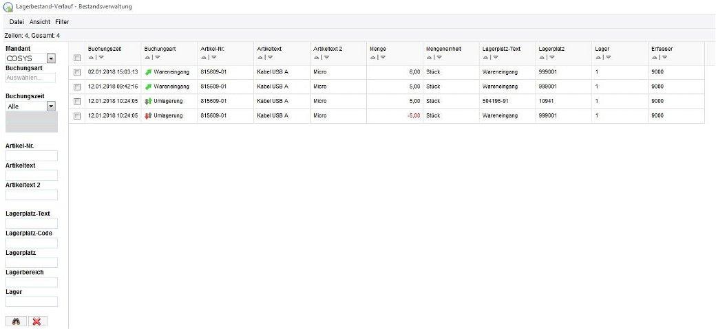 Lagerbestand-Verlauf Bestandsverwaltung - Inventar Software