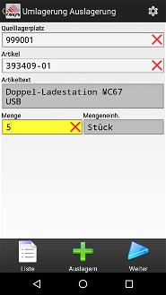 Umlagerung Lagerverwaltungsoftware