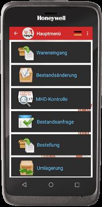 POS App auf EDA 51 Hauptmenü