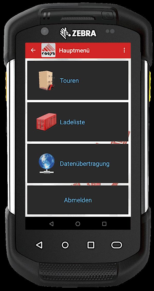 COSYS mobile Fahrer App auf Zebra TC72