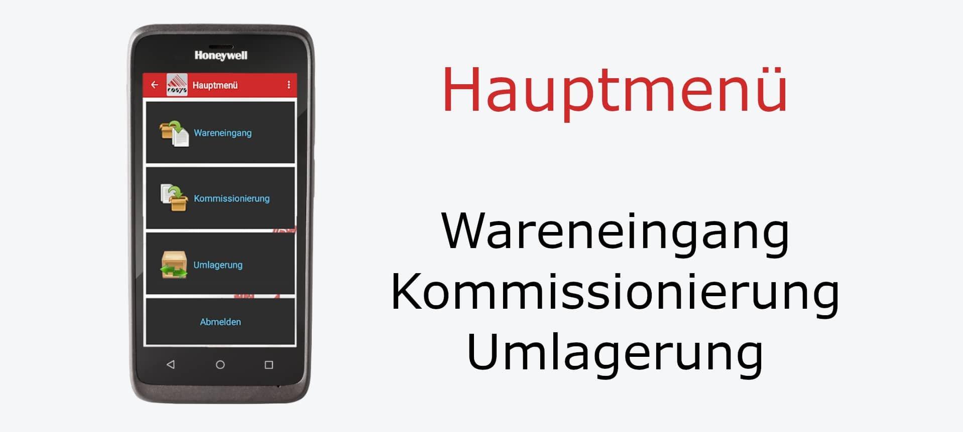 Hauptmenü Lager-App