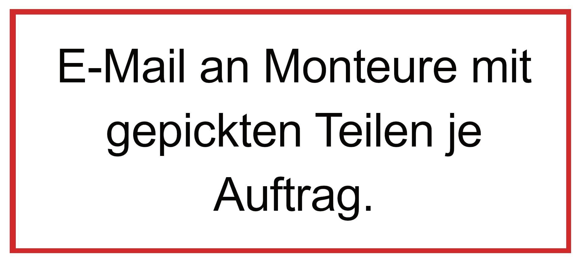 Automatische E-Mail an Monteure mit gepickten C Teilen.