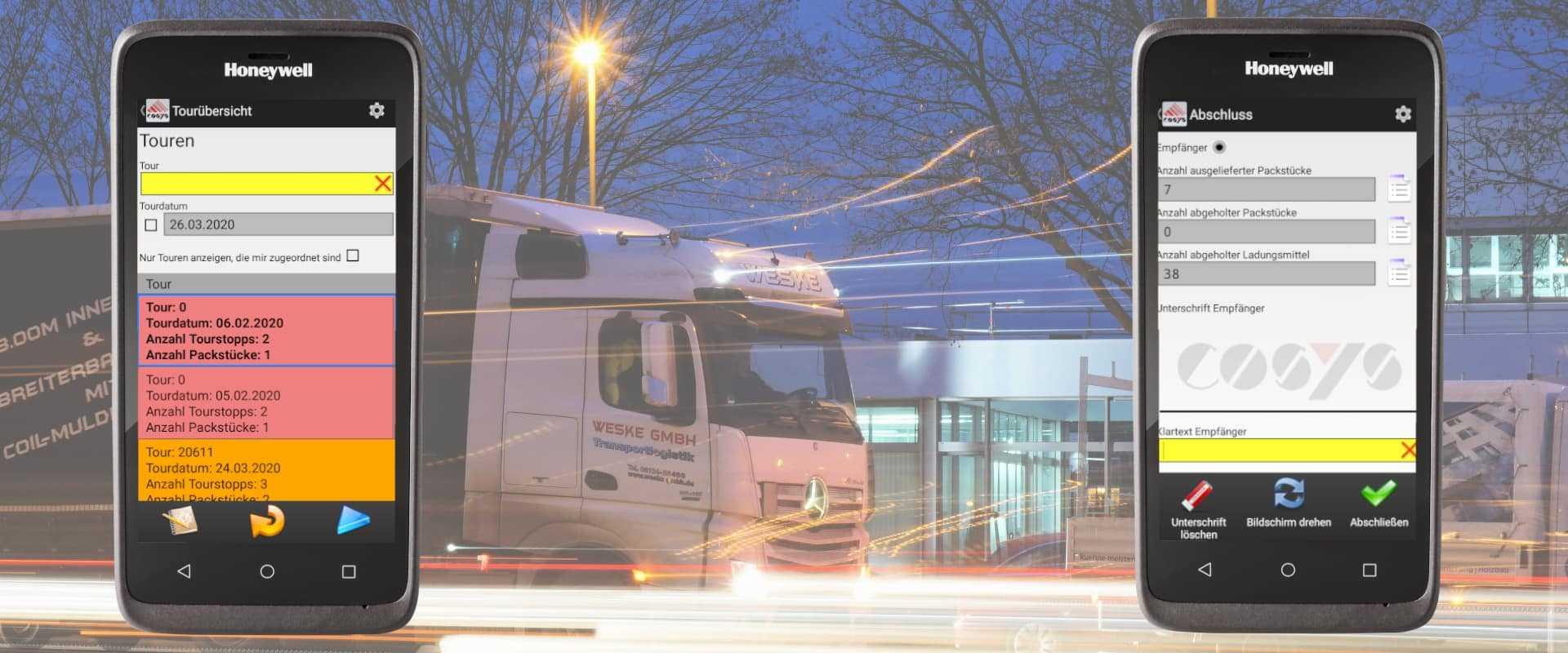 Honeywell EDA 51 und COSYS Verlade- und Ablieferscannung Software