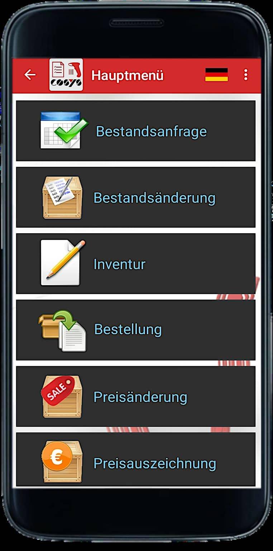 COSYS POS App Hauptmenü