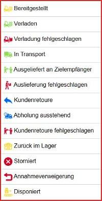 Status für Transporteinheiten