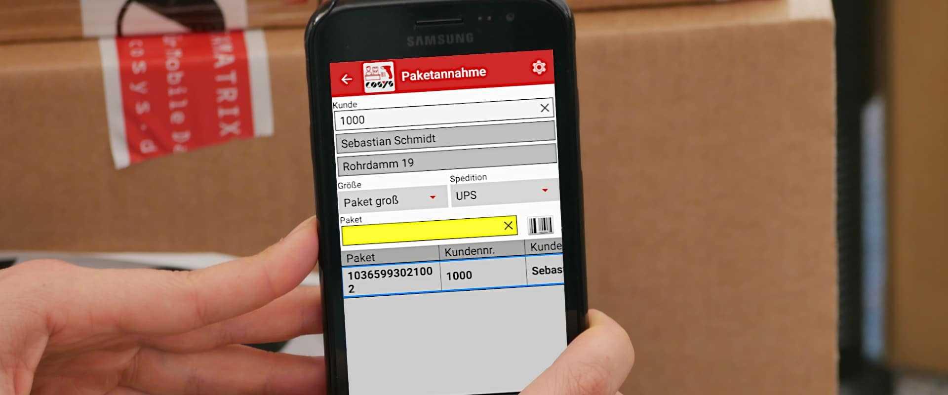 COSYS Paketshop App auf Samsung xcover 4