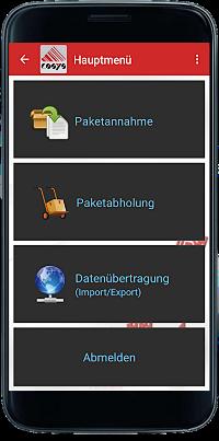 Paketshop App Hauptmenü